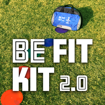 Be Fit Kit on grass with text below
