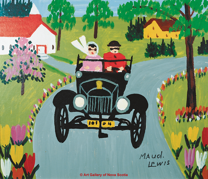 Maud Lewis roadster painting.