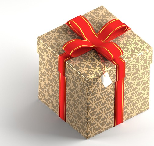 gold gift with red bow