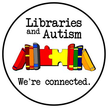 libraries and autism Text, with books and puzzle pieces