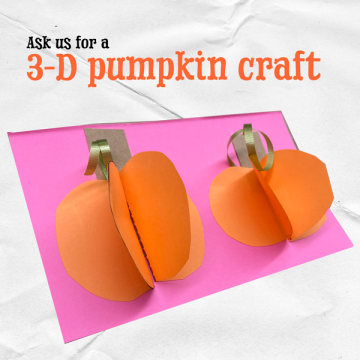text and two paper pumpkins