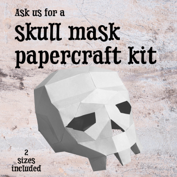 text and a paper skull
