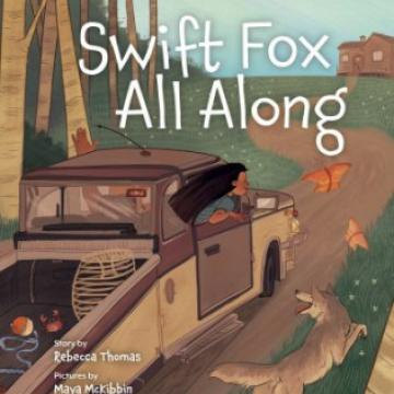 Swift Fox All Along book cover. Country road, a truck, and a girl looks out the window.
